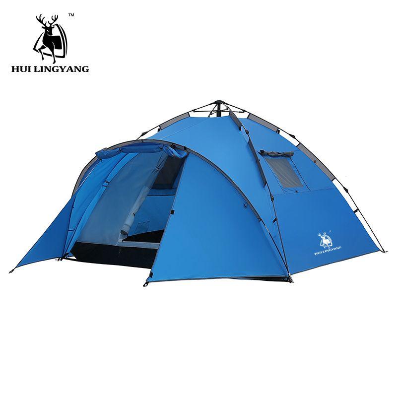 Camping Zelt Große Raum Doppel Schicht 3-4 person zelte Hydraulische Automatische Wasserdicht 4 Saison Outdoor Familie strand Wandern zelte