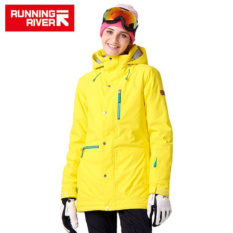 FLUSS Marke Frauen Snowboard Jacken Für Winter Warmen Mitte oberschenkel Outdoor-bekleidung Hochwertigen Sportjacke # A7023
