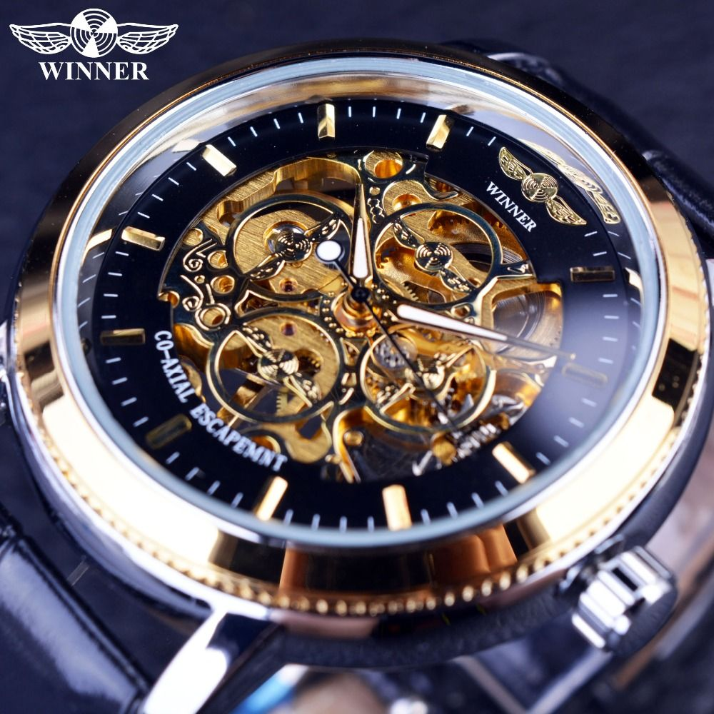 Winner 4 Ring Designer Transparent Case Back Black Golden Skeleton Mens Watches Top Brand Luxury Mechanical Watch Men Wristwatch