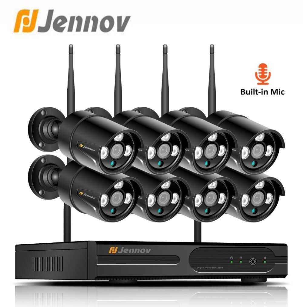 Jennov Video Surveillance IP Camera Wifi 1080P 8CH 2MP Security Camera System Wireless With Recording NVR Kit Outdoor CCTV Set