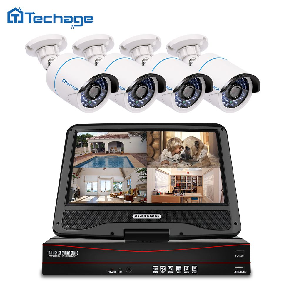 Techage 8CH 1080P LCD Monitor POE NVR Kit CCTV System 2.0MP Outdoor Home Security IP Camera P2P Video Surveillance System Set