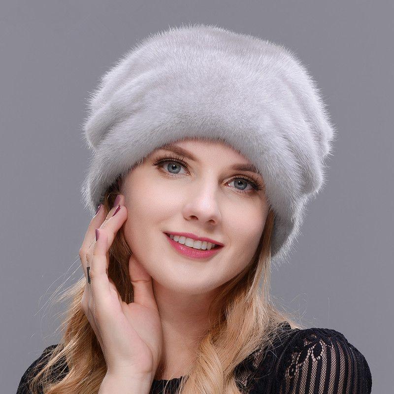 Christmas Hat Mink Whole Skin Making High Quality Fur Cap Mink Ball No Eaves Fur Hat Woman Winter Warm Ear Holiday fur Hat