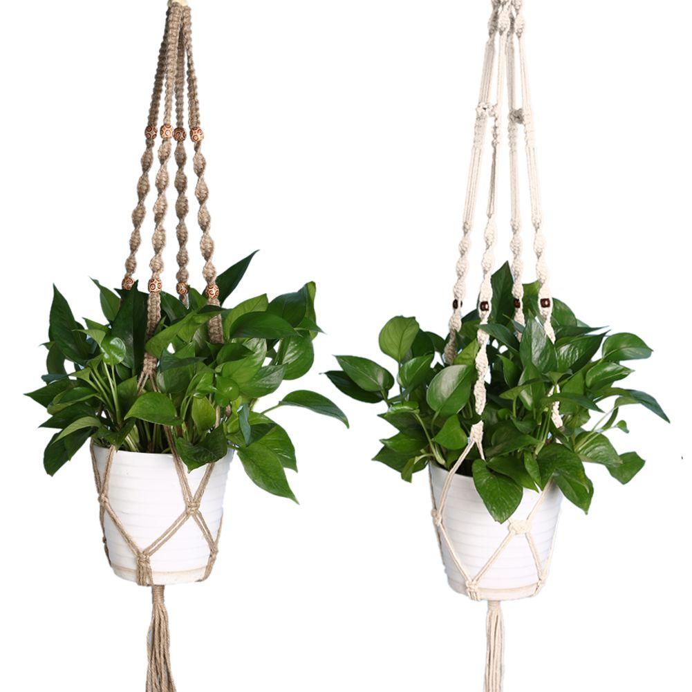 Vintage Knotted Plant Hanger Basket Flowerpot Holder Macrame Lifting Rope Garden Home Decoration Flower Plant Accessories