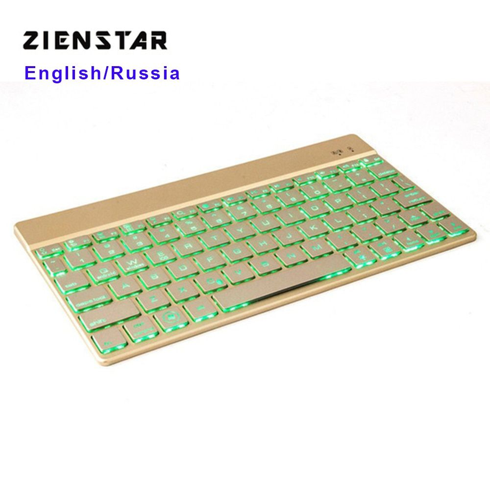 Zienstar clavier sans fil Ultra mince Bluetooth 3.0 avec 7 couleurs rétro-éclairage LED pour IPAD/Iphone/Mac/ordinateur portable/ordinateur de bureau/tablette