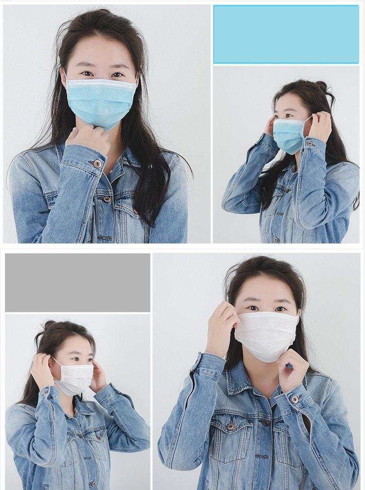 New 20Pcs/Lot 3-Ply Independent Packaging Disposable Elastic Mask Dustproof Surgical Anti Fog Hygiene Mouth Mask