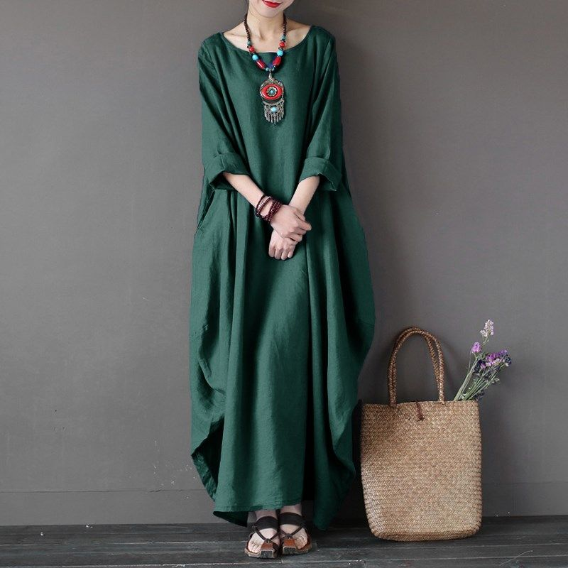 2018 ZANZEA Womens Crewneck 3/4 Batwing Sleeve Baggy Maxi Long Shirt Dress Casual Party Kaftan Solid Robe Vestido Plus <font><b>Size</b></font>