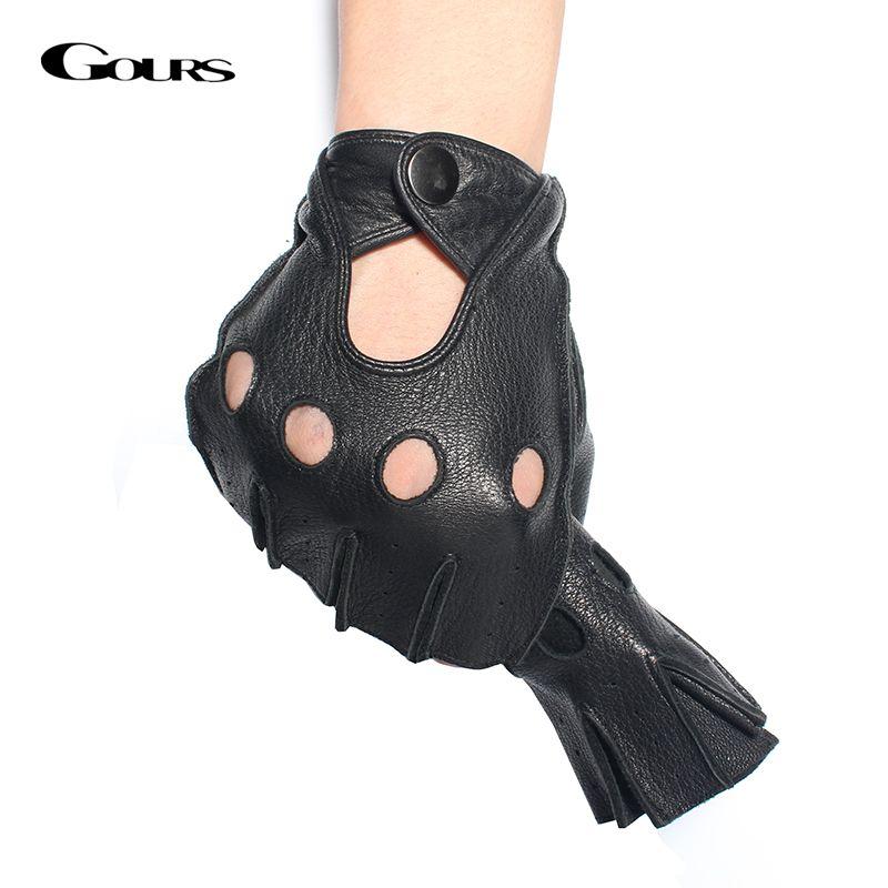 Gours Winter Mens Genuine Leather Fingerless Gloves Black Half Finger gym Workout Fitness Driving Male Gloves GSM046