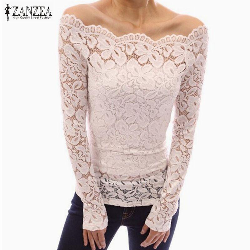 ZANZEA 2017 Spring Sexy Women Blusas Off Shoulder Slash Neck Lace Solid Shirts Long Sleeve Slim Casual Tops Blouse Plus Size