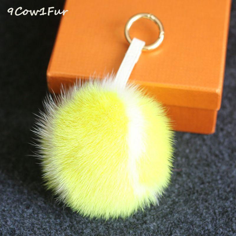 Кролик брелок Мех теннис 10 см реального норки Мех помпонами роскошные меховые шарики pom для сумка Hat Кепки шарф прилагается Haps CF150