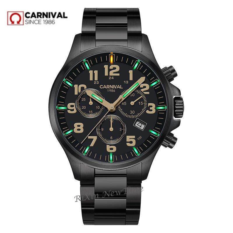 Chronograph T25 Tritium Luminous stop watch men luxury brand Ronda quartz men watches full steel clock erkek kol saati reloj uhr