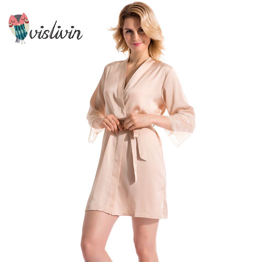 Vislivin Summer Dress Silk Robe Women's Pajamas Sexy Bathrobe Dressing Gowns For Women Mantle Lingerie Pajamas And Dathrobes