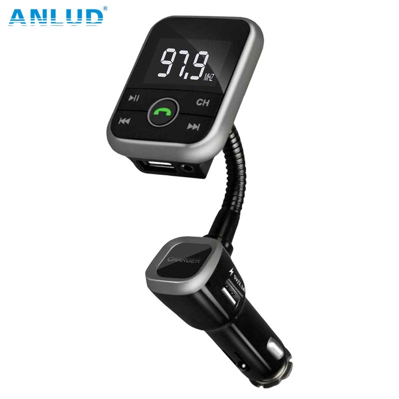 ANLUD New Wireless Bluetooth LCD FM Transmitter Modulator Car Kit USB Charger MP3 Player Support USB SD Card  For iPhone Samsung