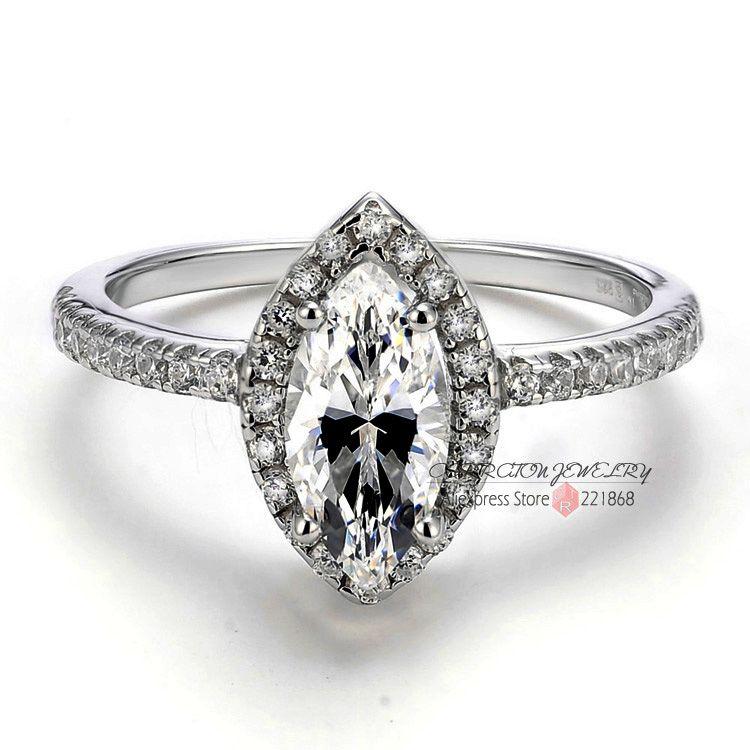 Sterling Серебряные ювелирные изделия Большой маркиза CZ Имитация Камень 925 серебро женщина Обручение обручальное кольцо