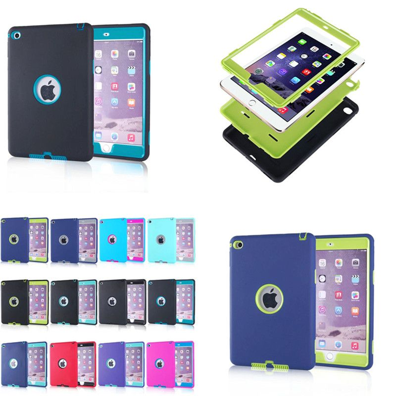 Wholesale LD Funda Capa Case for iPad Mini 4 Durable Heavy Duty 3 in 1 Layers Cases Shockproof Cover for iPad Mini4 Tablet PC