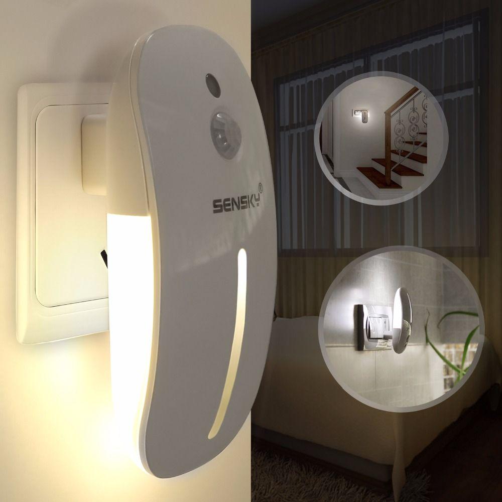 Sensky 110V 220V AC Body PIR Infrared Motion Sensor LED Night Light with light Sensor lumina for kids bedroom Lamp
