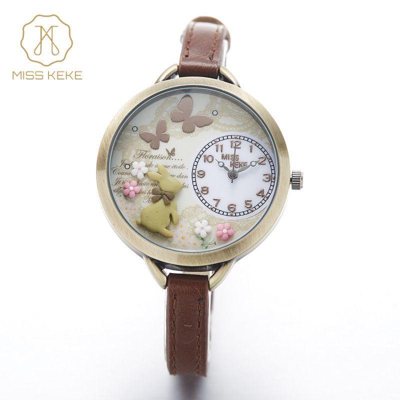 Montre enfant 2017 Fräulein Keke 3d Mini Welt Ton Niedlichen Kinder Frauen Armband Uhren Damen Fashion Alice Wald Armbanduhren 882