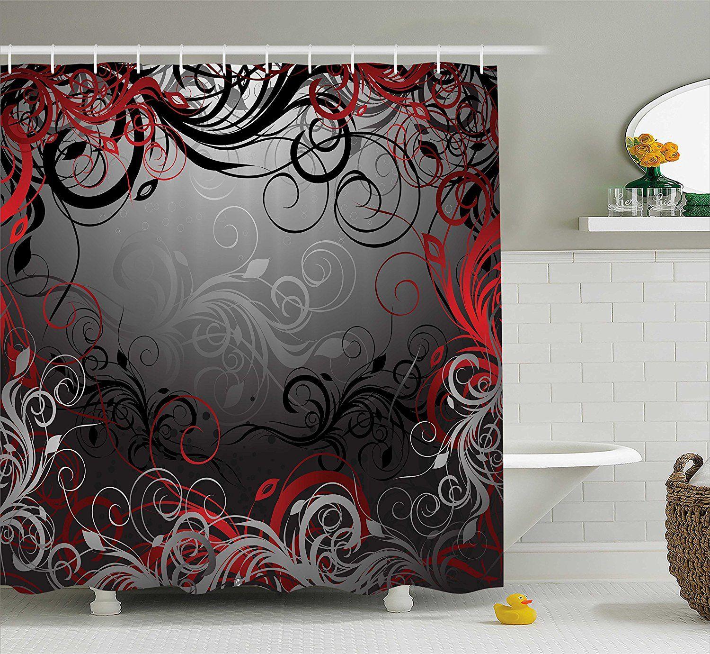 Rot und Schwarz Duschvorhang Mystic Zauberwald Inspiriert Floral Wirbelt Blätter Badezimmer Dekor Set