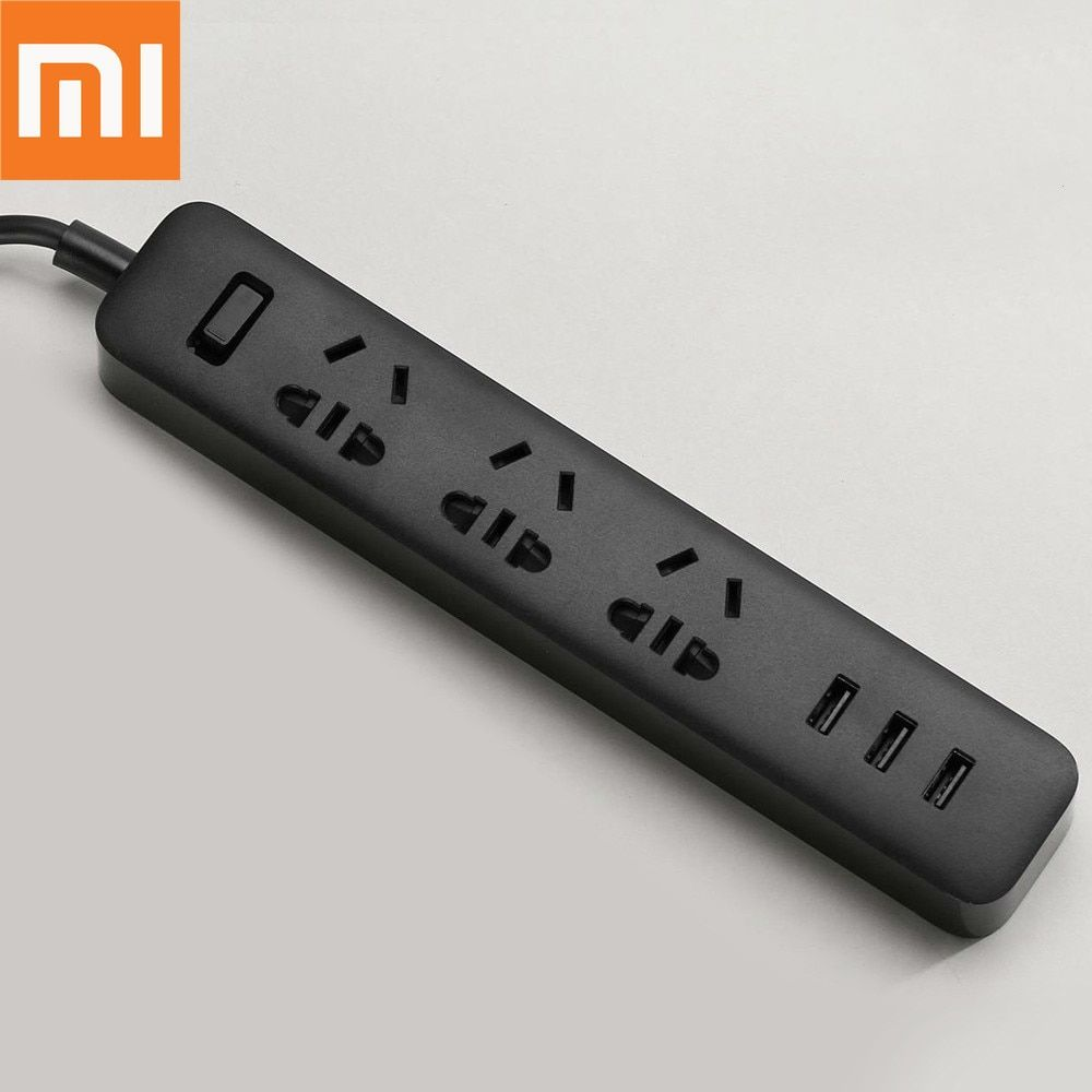 Original Xiaomi Smart Home Electronic Power Strip Socket Fast Charging 3 USB + 3 Sockets Standard Plug Interface Extension EU US
