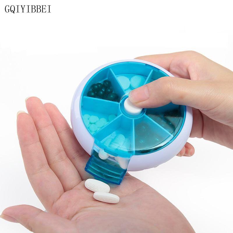 Gqiyibbei вращающийся 7day окружающей среды Портативный наркотиков для хранения путешествия лекарства окно организатор неделю таблетки случае П...