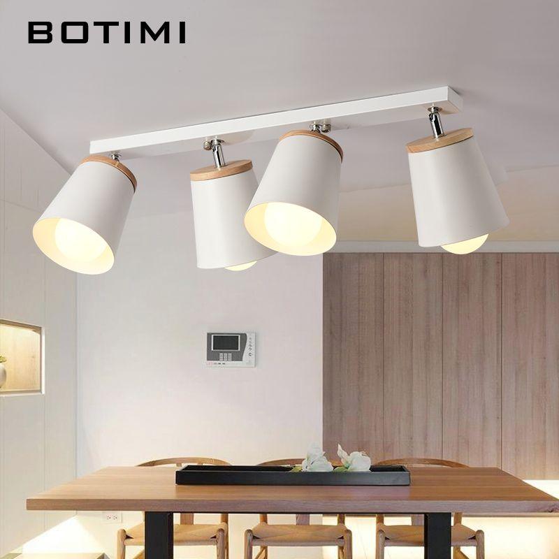 BOTIMI Modern White Ceiling Lights For Corridor Adjustable Metal Lamparas de techo Corridor E27 Indoor Wood Lighting Fixtures