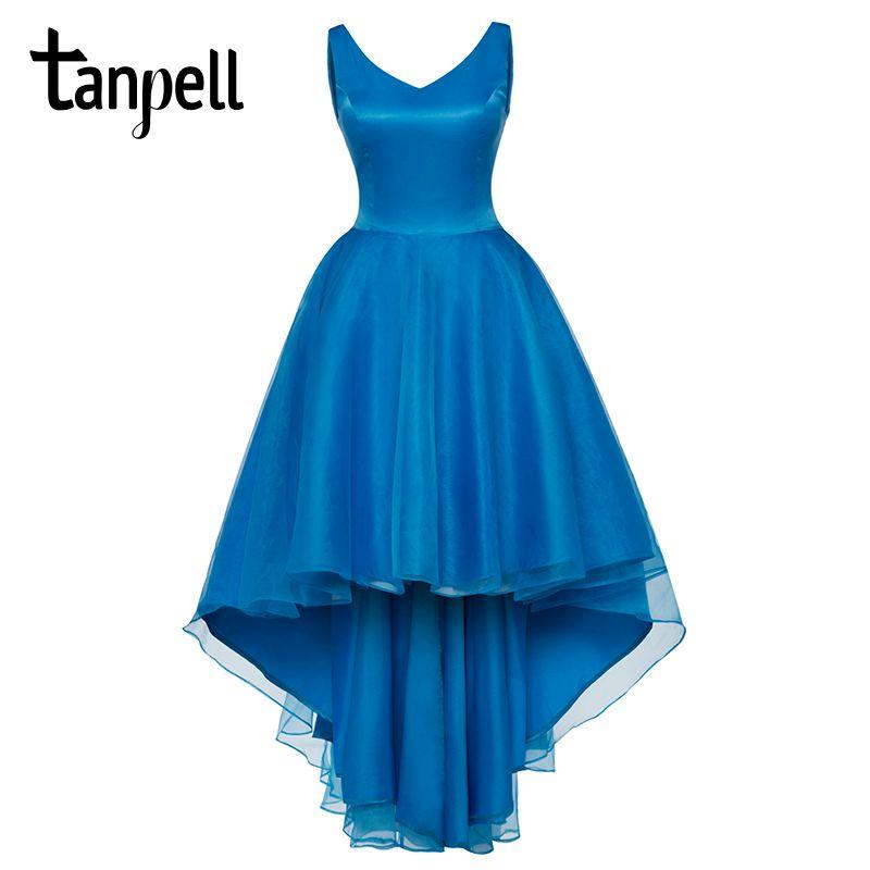Tanpell v cuello vestido de fiesta azul elegante sin mangas hasta la rodilla una línea de vestidos mujeres del partido de la gasa formal de noche de baile vestido