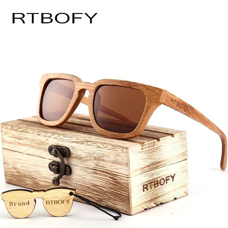 RTBOFY 2017 Wood Sunglasses Men Square Bamboo Sunglasses Vintage Wood HD Lens Frame Handmade Sun Glasses For Men Eyewear