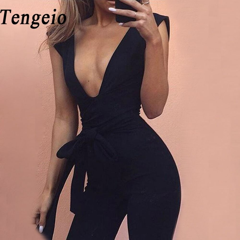 Tengeio Bodysuit Body Suits For Women Summer Jumpsuits Body Femme Deep V <font><b>Neck</b></font> Sexy Club Outfits Long Jumpsuit With Belt 20