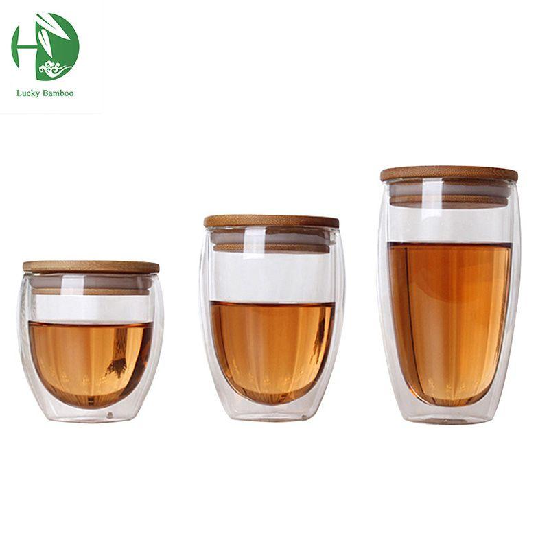 Double Tasse En Verre Tasses À Café Thé Tasse Transparent résistant à La Chaleur En Verre Tasses Avec Bambou Isolation Tasse Couvercle Creative Gros