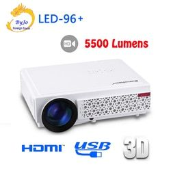 2017 New LED96+ LED Projector 1080P 5500lumens HDMI USB 1280x800 Full HD Home theater system proyector 3D projector