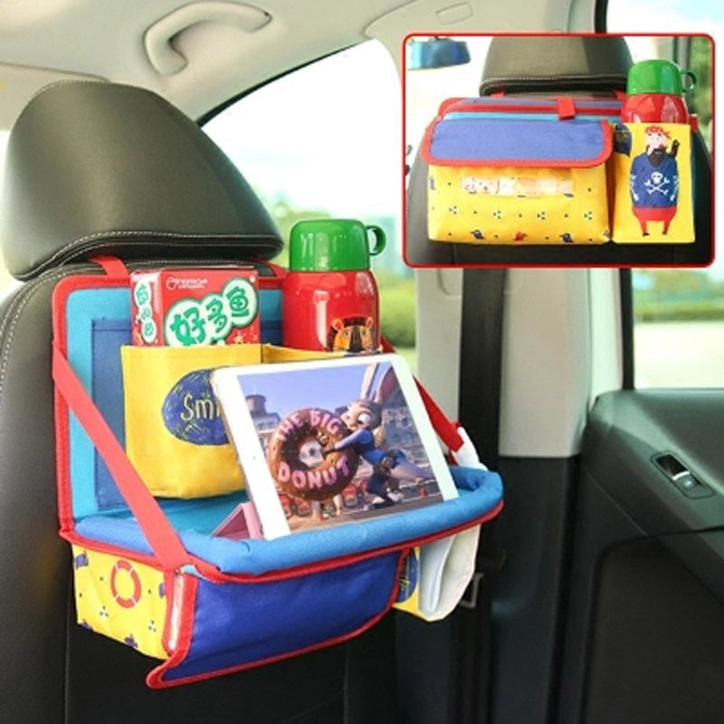 Car Backseat Storage Bag For Kids Oxford Cartoon Folding Auto Organizers Back Child Dining Table Organizador Car Accessories
