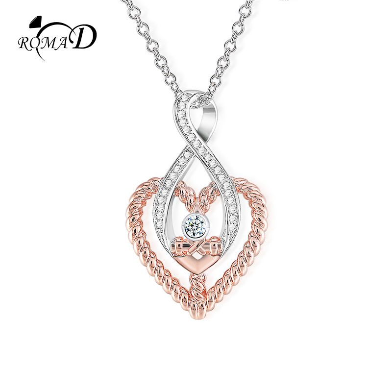 ROMAD Infinity Heart Pendant & Necklace for Women Rose Gold Necklace White Zirconia Wedding Jewelry Luxury Choker Necklace R4