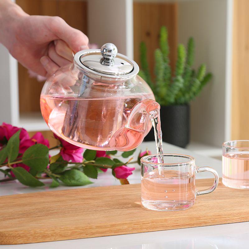 Bonne théière en verre Borosilicate clair avec 304 en acier inoxydable infuseur crépine résistant à la chaleur en vrac thé Pot outil bouilloire ensemble