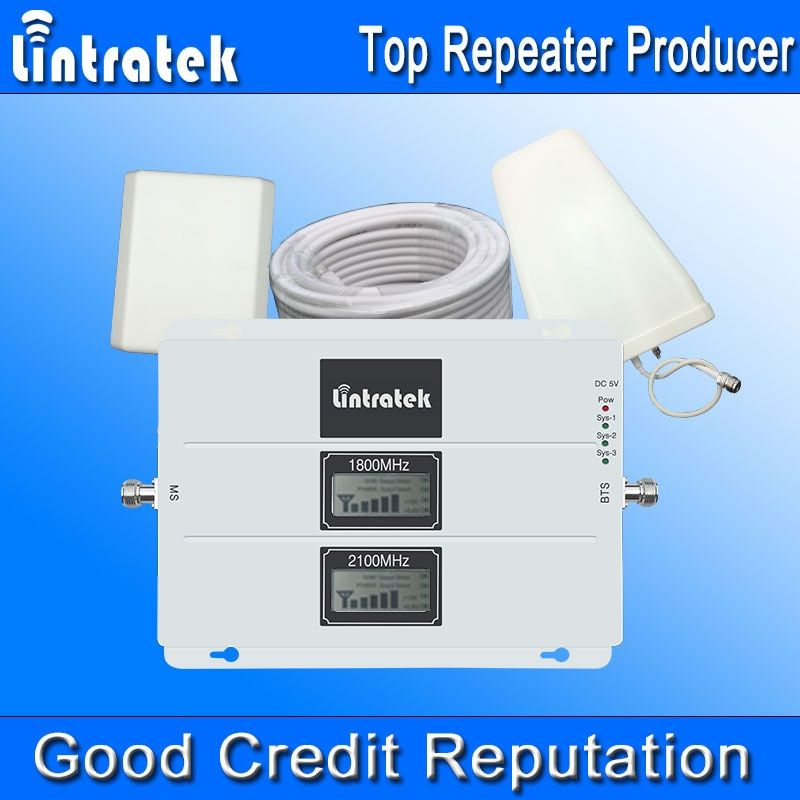 Lintratek Dual Band 3G 4G LTE 1800MHz 2100MHz UMTS Cell Phone Cellular Signal Booster LCD GSM 1800 W-CDMA 2100 Signal Amplifier#
