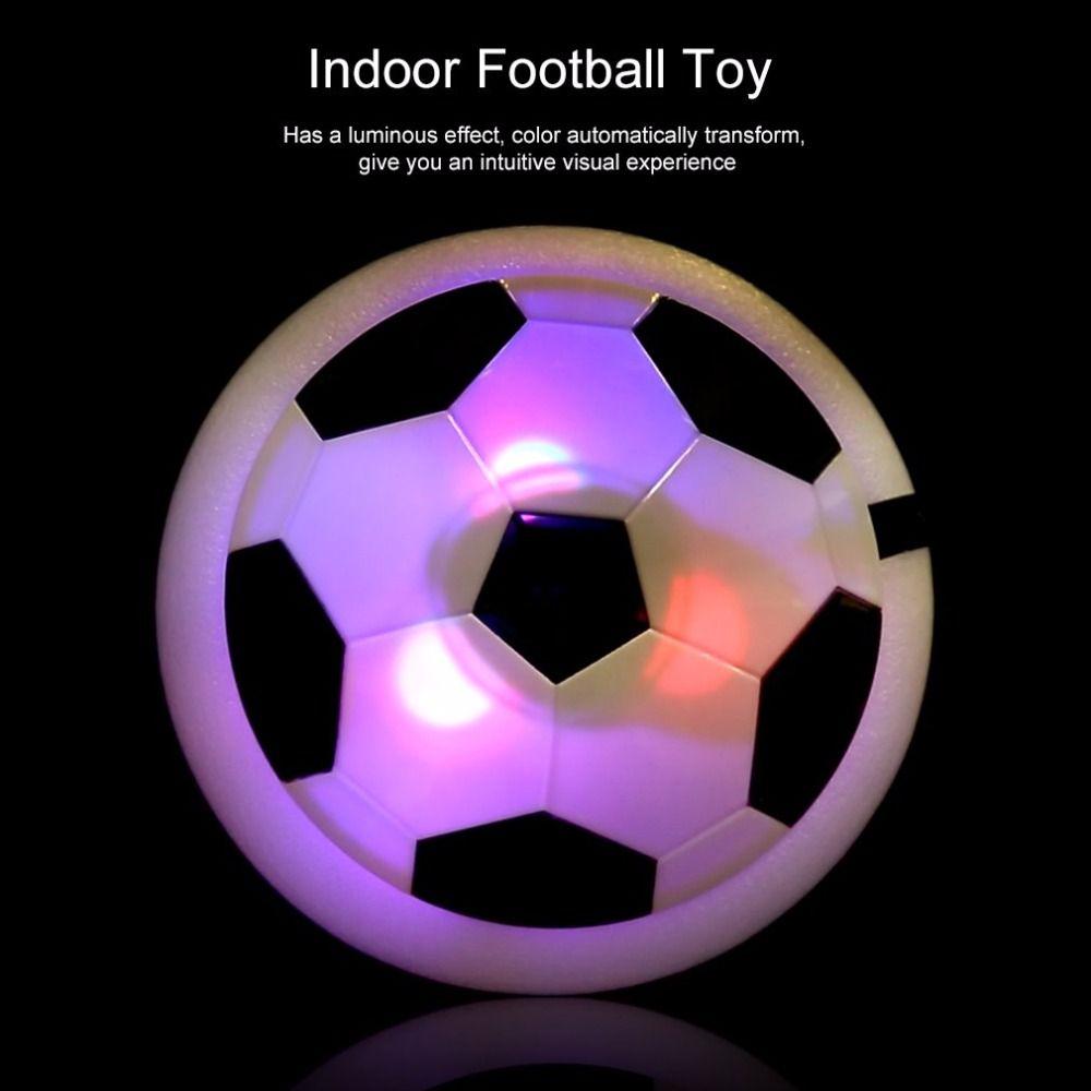 OCDAY 1 pc drôle lumière LED clignotant Air puissance ballon de Football disque intérieur Football jouet multi-surface planant planant Football jouet