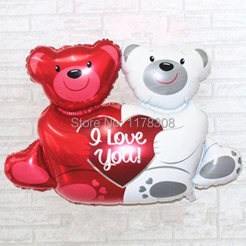 Свадебные украшения шары новый большой двойной медведи Hug Сердце