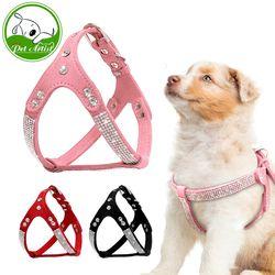 Gamuza suave perrito perro arnés rhinestone gato chaleco mascotas cachorro Arneses para pequeño mediano Perros Chihuahua rosa