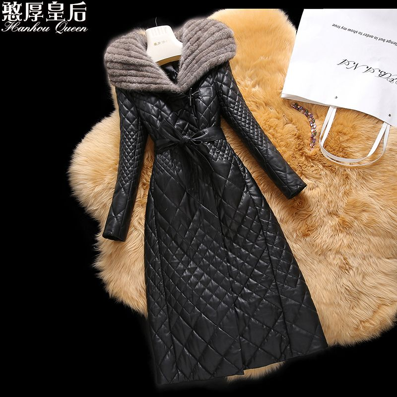 Plus size 4XL Mink Fur 2017 winter Jacket Women Jackets genuine leather Coats Outerwear women's sheepskin cotton-padded coat