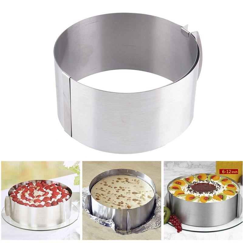 Cuisson pratique argent rétractable en acier inoxydable cercle Mousse anneau cuisson outil ensemble gâteau moule taille réglable ustensiles de cuisson