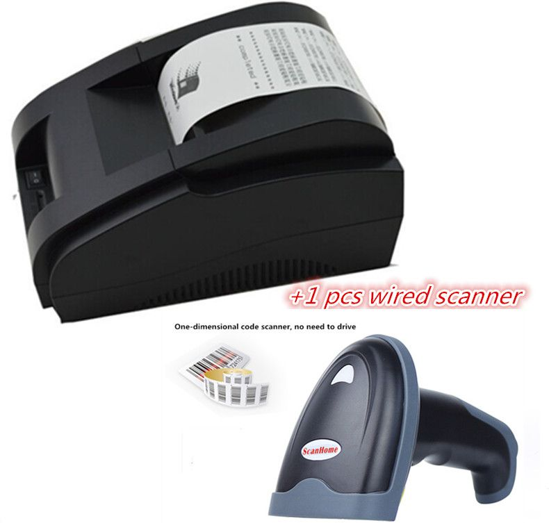 Scanner filaire + imprimante pos noir et blanc en gros haute qualité 58mm imprimante à reçu thermique machine interface USB