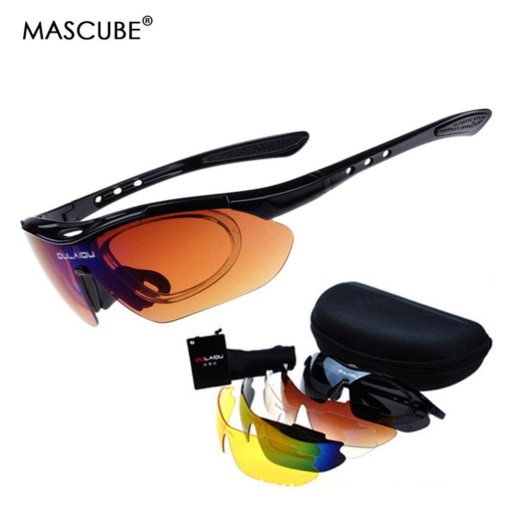 MASCUBE UV400 Protection escalade randonnée lunettes lunettes tactiques sport Protection sécurité chasse lunettes 5 lentille oculos feminino
