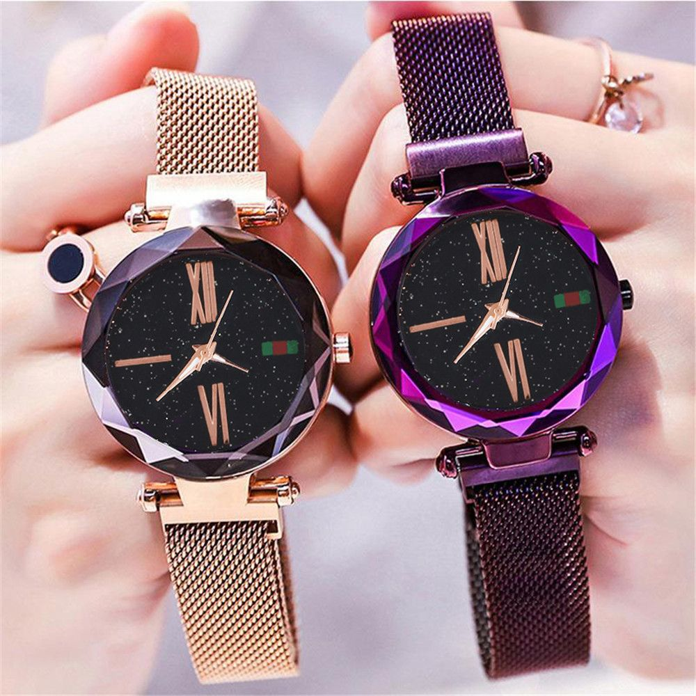 Women Mesh Magnet Buckle Starry Sky Watch Luxury Fashion Ladies Geometric Surface Roman Numeral Quartz Watch Relogio Feminino