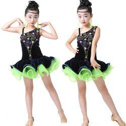 Payet gadis ballroom latin dance dress anak balet jazz kinerja kostum ballroom kompetisi skating dresses kleid frauen