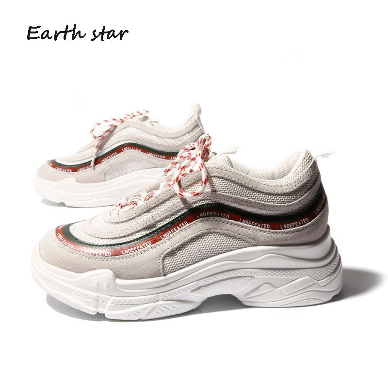 EARTH <font><b>STAR</b></font> 2018 Spring Fashion Lady Casual White Shoes Women Sneaker Leisure Platform Shoes Breathable Casual Shoe Cross-tied
