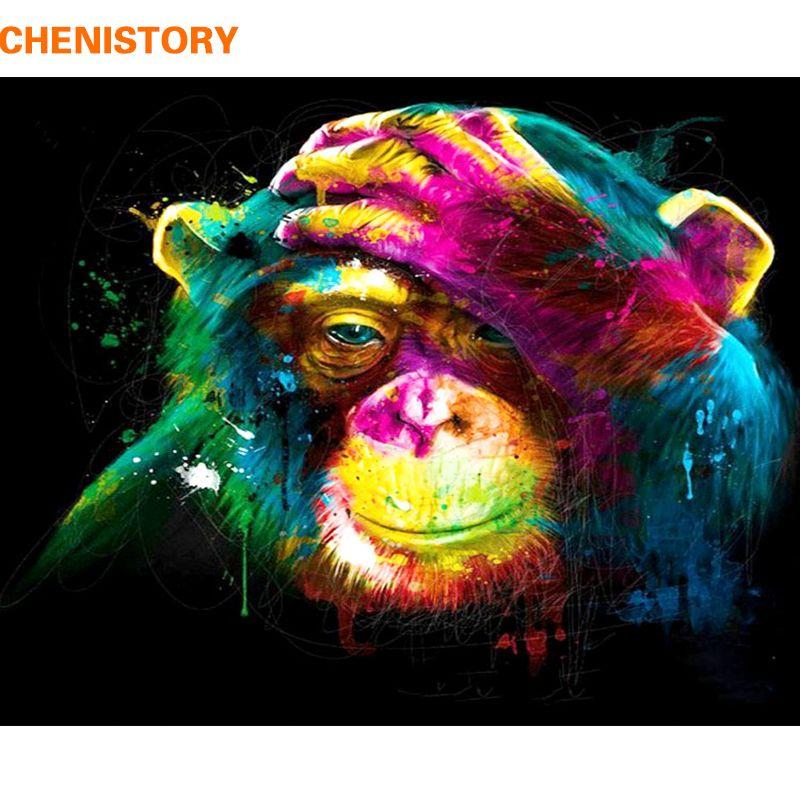 CHENISTORY singe peinture à la main par numéros animaux peinture calligraphie peinture acrylique par numéros pour la décoration intérieure 40x50 cm oeuvres d'art