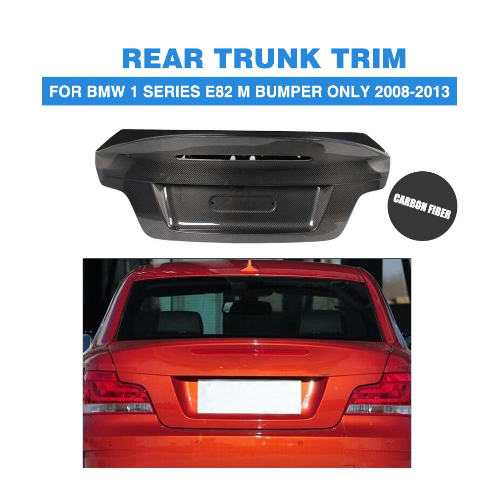 Carbon Fiber Rear Trunk Boot Lid Cover Cap For BMW 1-series E82 1M Bumper ONLY 2008-2013 Car Tuning Parts