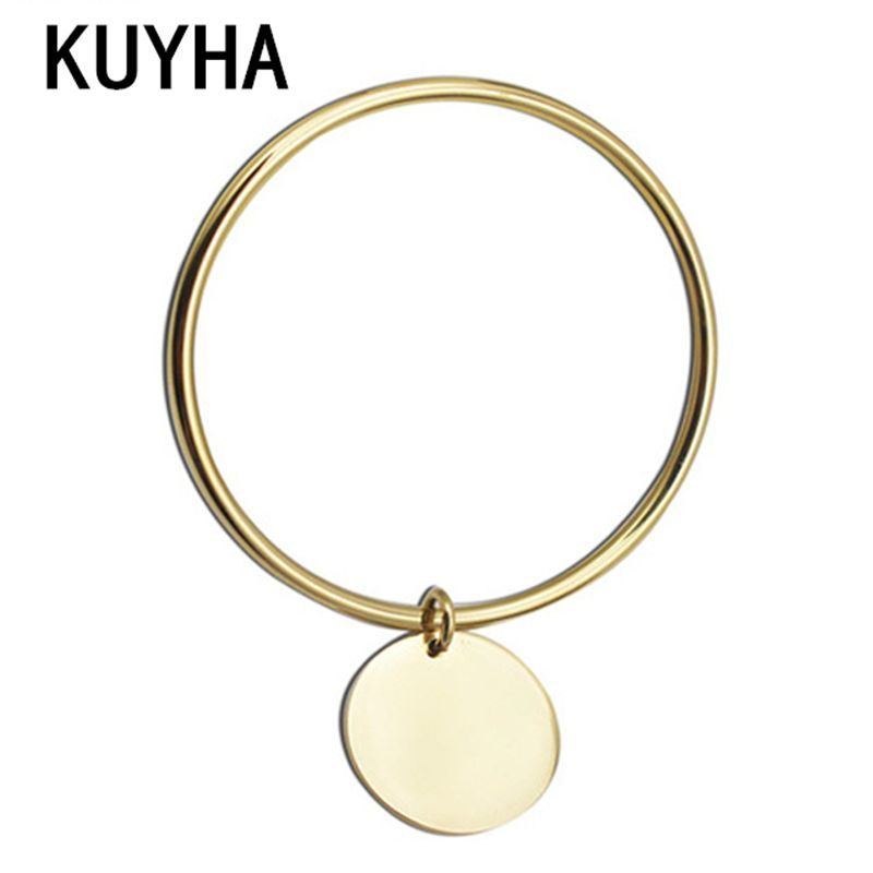 Stainless steel women jewelry france charm bracelet bangle with pendant silver bangles with charms round charm pendant bangle