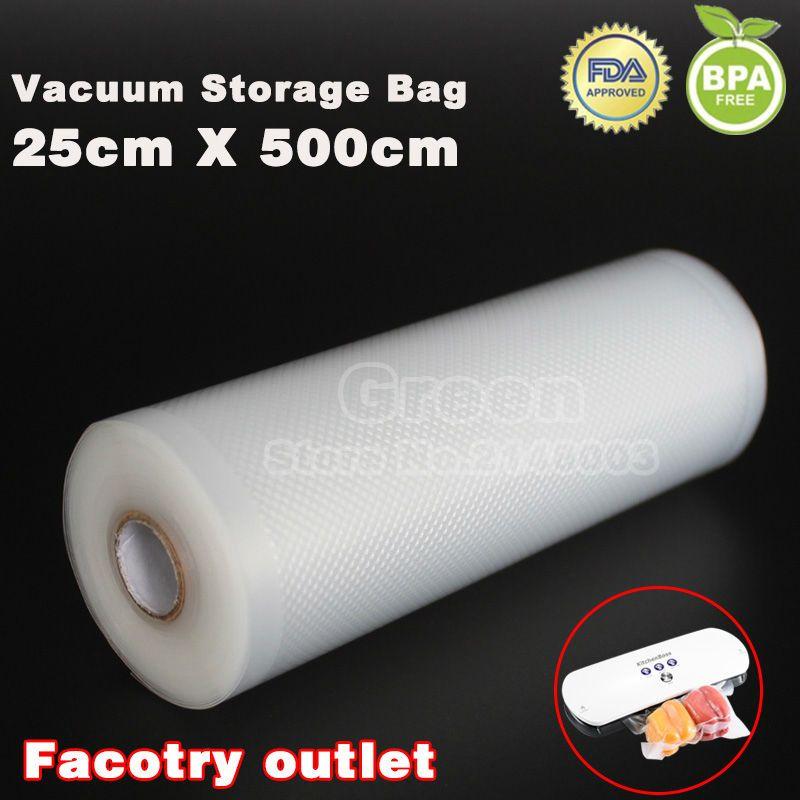 25 cm x 500 cm 1 Rouleau Vide sac de nourriture pour la cuisine sacs de rangement sous vide emballage film garder au frais jusqu'à 6x plus