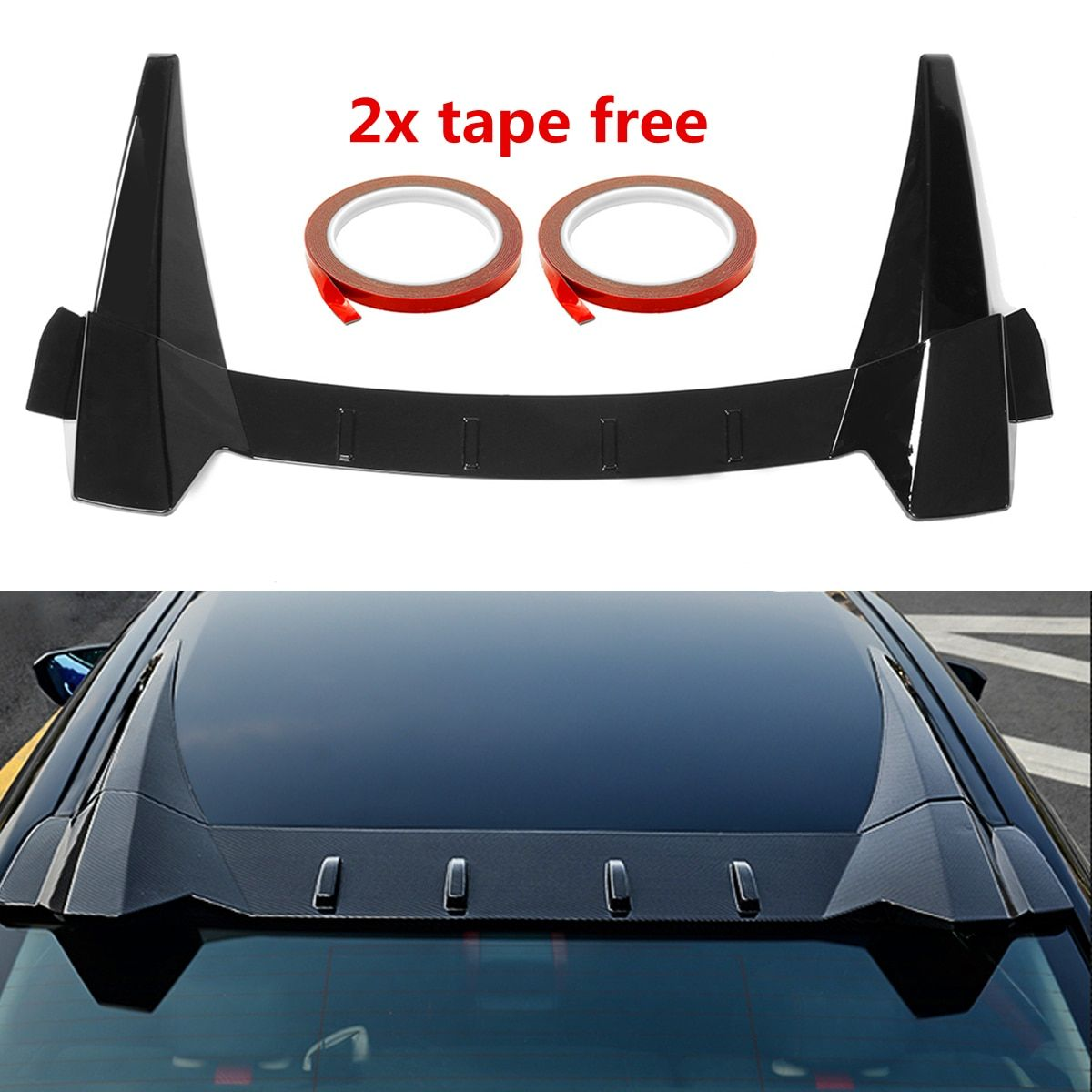 Car Rear Window Roof Spoiler lips Visor R Style ABS Plastic Tail Wing Fits for Honda for Civic 10th 4DR Sedan 2016-2018