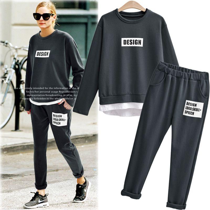Casual Two Piece Set Tracksuit Trainingspak Sweat Suits Women Grey Beige O-neck T-shirt And Long Pants Ensemble Femme 2549-23