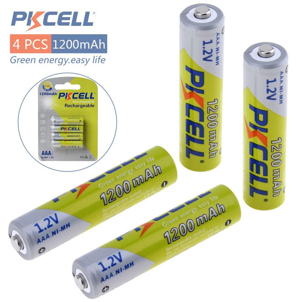 Pkcell 1.2 V AAA Ni-Mh 1200 mAh Rechargeable Batteries Bateria Haute Capacité Batteries Set Avec 1000 Cycle pour LED lampe de Poche